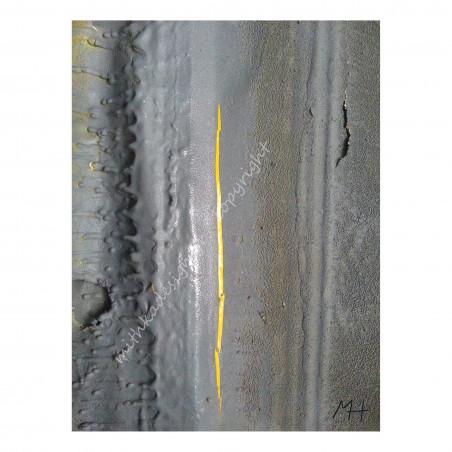 Tableau plexiglas Coulures et Grains jaune et gris